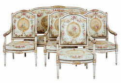 FINE QUALITY LOUIS PHILIPPE I PERIOD 5 PIECE TAPESTRY GILT SALON SUITE