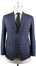 New 4500 Orazio Luciano Navy Blue Plaid Wool Suit - Single Breasted - 46/56