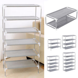3 4 5 6 7 Tier Metal Shoes Rack Stand Storage Organizer Fabric Shelf Holder