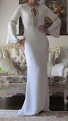 New Emilio Pucci Runway White/cream,crystals,lined Dress It 40,us 2-6,uk 8,xs-s