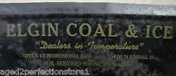 1930s Elgin Coal And Ice Co Ad Dust Pan Sign Dealers In Termperature Illinois