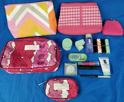 5 New Clinique Make Up Bags Flower Design And Small Lot Lipsticks Cleanser Mascara