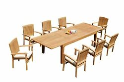9pc Grade-a Teak Dining Set 122 Caranas Rectangle Table Wave Stacking Arm Chairs