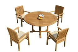 5pc Grade-a Teak Dining Set 60 Round Table 4 Wave Stacking Arm Chairs Outdoor
