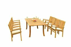 9pc Grade-a Teak Dining Set 94 Rectangle Table 8 Wave Stacking Arm Chairs Patio