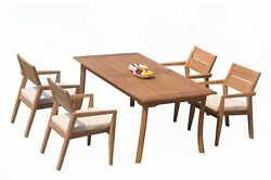 5pc Grade-a Teak Dining Set 94 Rectangle Table 4 Vellore Stacking Arm Chairs