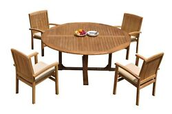 5pc Grade-a Teak Dining Set 72 Round Table 4 Wave Stacking Arm Chairs Outdoor