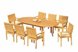 9pc Grade-a Teak Dining Set 94 Oval Table 8 Leveb Stacking Arm Chairs Outdoor