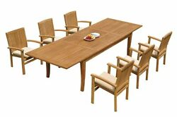7pc Grade-a Teak Dining Set 122 Atnas Rectangle Table Wave Stacking Arm Chairs