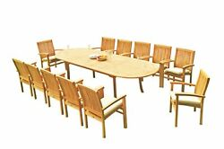 13pc Grade-a Teak Dining Set 118 Oval Table 12 Wave Stacking Arm Chairs Outdoor