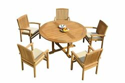 6pc Grade-a Teak Dining Set 60 Round Table 5 Wave Stacking Arm Chairs Outdoor