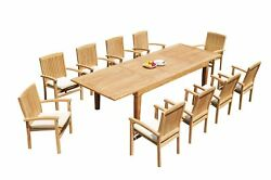 11pc Grade-a Teak Dining Set Caranas Rectangle Table Wave Stacking Arm Chairs