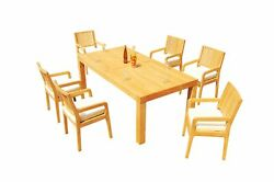7pc Grade-a Teak Dining Set 86 Canberra Rectangle Table 6 Maldives Arm Chairs