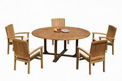 6pc Grade-a Teak Dining Set 72 Round Table 5 Wave Stacking Arm Chairs Outdoor