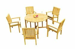 6pc Grade-a Teak Dining Set 48 Round Butterfly Table 5 Wave Stacking Arm Chairs