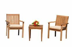 3pc Grade-a Teak Dining Set Sack Side Table 2 Leveb Stacking Arm Chairs Outdoor