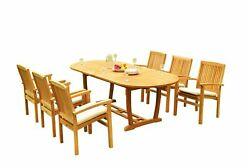 7pc Grade-a Teak Dining Set 94 Mas Oval Table Wave Stacking Arm Chairs Outdoor