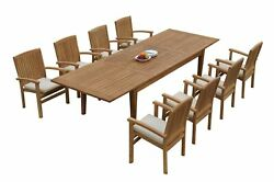 9pc Grade-a Teak Dining Set 122 Atnas Rectangle Table Wave Stacking Arm Chairs