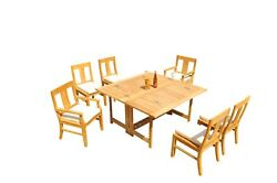 7pc Grade-a Teak Dining Set 60 Square Rectangle Butterfly Table Osborne Chair