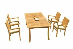 5pc Grade-a Teak Dining Set 118 Rectangle Table 4 Wave Stacking Arm Chairs