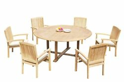 7pc Grade-a Teak Dining Set 72 Round Table 6 Wave Stacking Arm Chairs Outdoor