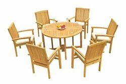 7pc Grade-a Teak Dining Set 48 Round Butterfly Table 6 Wave Stacking Arm Chairs