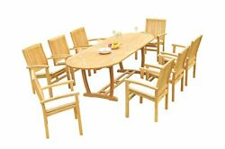 9pc Grade-a Teak Dining Set 94 Mas Oval Table Wave Stacking Arm Chairs Outdoor