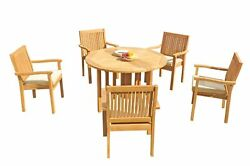 6pc Grade-a Teak Dining Set 48 Round Butterfly Table Leveb Stacking Arm Chairs