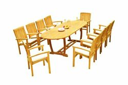 11pc Grade-a Teak Dining Set 94 Mas Oval Table Wave Stacking Arm Chairs Outdoor