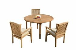 4pc Grade-a Teak Dining Set 52 Round Table 3 Wave Stacking Arm Chairs Outdoor