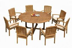 9pc Grade-a Teak Dining Set 72 Round Table 8 Wave Stacking Arm Chairs Outdoor