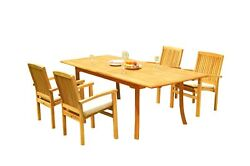 5pc Grade-a Teak Dining Set 94 Rectangle Table 4 Wave Stacking Arm Chairs Patio