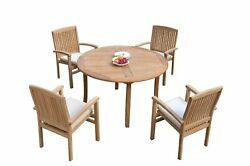 5pc Grade-a Teak Dining Set 52 Round Table 4 Wave Stacking Arm Chairs Outdoor
