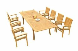 9pc Grade-a Teak Dining Set 118 Rectangle Table 8 Wave Stacking Arm Chairs