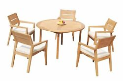 6pc Grade-a Teak Dining Set 52 Round Table 5 Vellore Stacking Arm Chairs Patio