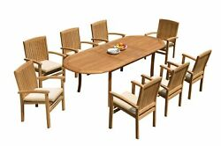 9pc Grade-a Teak Dining Set 94 Oval Table 8 Wave Stacking Arm Chairs Outdoor