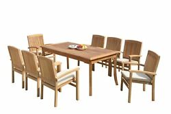 9pc Grade-a Teak Dining Set 60 Rectangle Table 8 Wave Stacking Arm Chairs Patio