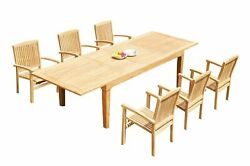 7pc Grade-a Teak Dining Set 122 Caranas Rectangle Table Wave Stacking Arm Chairs