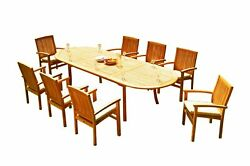 9pc Grade-a Teak Dining Set 118 Oval Table 8 Wave Stacking Arm Chairs Outdoor