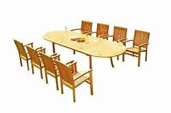11pc Grade-a Teak Dining Set 118 Oval Table 10 Wave Stacking Arm Chairs Outdoor