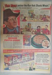 Quaker Cereal Ad Tim Holt From 1948 Size 11 X 15 Inches