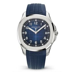 NEW Patek Aquanaut Blue 20th Anniversary 18k White Gold Watch BoxPapers 5168G