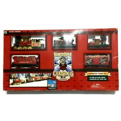 North Pole Express Christmas Animated Musical Train Set Open Box Tested Vintage