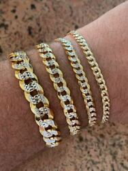 Real Solid 925 Sterling Silver And 14k Gold Diamond Cut Flat Miami Cuban Bracelet