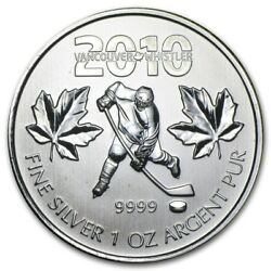 2010 Canadian Maple Leaf Vancouver Olympics Ice Hockey 1 Oz .9999 Silver Coin