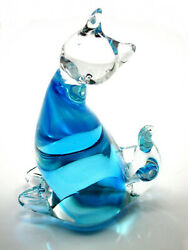 Murano Hand Blown Blue And Clear Glass Cat Figurine Italy Andndash Gorgeous