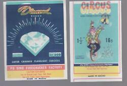 Lot Of Two Rare Printing Error Circus And Diamond Firecracker Pack Labels