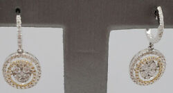 2.16ct Natural Round Diamond 14k Solid White Gold Snap Closure Hoops Earring