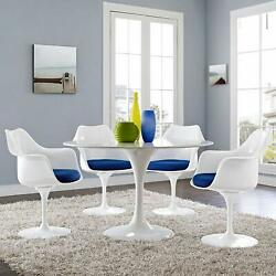 Modway Lippa Dining Armchair With Fabric Cushion - Set Of 4 White / Blue New