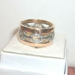 Vintage Antique Wide Rose And White Gold Band Chain Of Love Rare Baguettes Diamomd